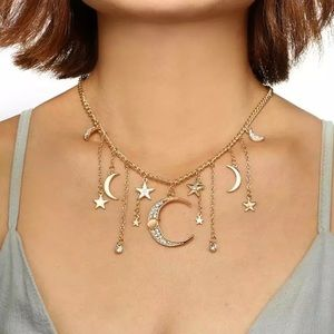 Jewelry - Bohemian Gold/Silver Star & Moon Crystal Necklace